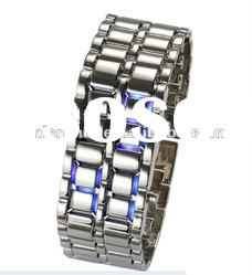 Faceless Lava Style Iron Samurai Metal LED Watch