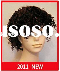 Fashion short Candy curl human hair Wig/Full lace wig paypal available