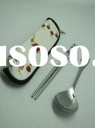 High quality stainless steel 2pcs spoon&chopsticks
