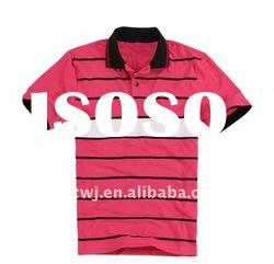 Hot sale casual style cotton mens polo collar striped t shirt
