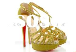 Hot selling yellow/purple ladies summer sandals high heels