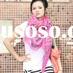Newest design Lady's fashion Stripe Plain Long scarf
