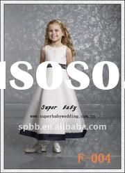Newest lace satin sleveless F-004 white flower girl dresses