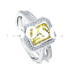 Square shape,yellow CZ stone, micro pave jewelry,sterling silver ring