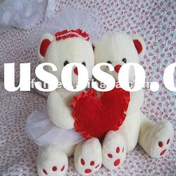 Wedding teddy bear soft toy with heart design