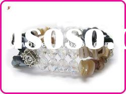 Wholesale Natural stone and crystal cut glass beads stretch bracelet(B102174)
