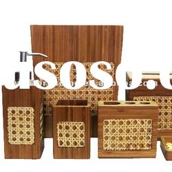 bamboo bath set with bamboo weaving decorative