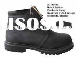 black nubuck leather high cut safety shoes oil field