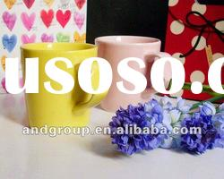 cheap and small porcelain cup suitable for promotion/pure color ceramics cup/Ceramic cup with handle