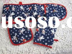 cotton oven glove and mitt with embroideded
