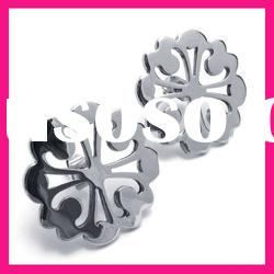 fashion flower shaped women stud earrings hot sale stainless steel jewelry