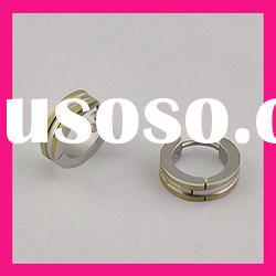 fashion stainless steel gold plated cheap mens round stud earrings