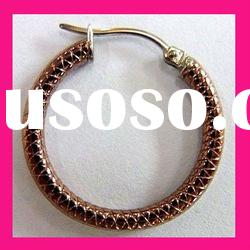 fashion womens antique coffee gold plated round shape stainless steel hoop earring jewelry
