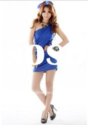lady fashion blue cotton mini dress
