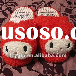 lovely comfortable plush animal slippers for indoor lady