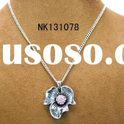 tribal necklace manufacturer with pink rhinestone necklace with water wave chain