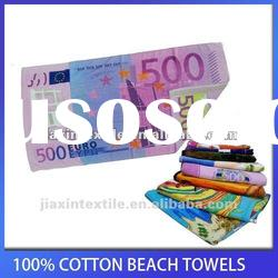 100% cotton velour reactive printed beach towel two side printing