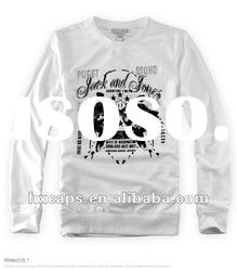 100% cotton white printed long sleeve sweatshirt