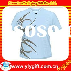 2012 Customized Promotional Short Sleeve Round Neck T shirts With Side Water Printing(OEM)