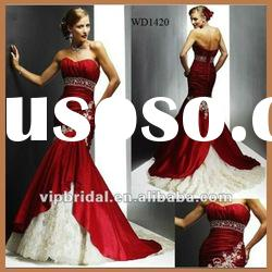 2012 Embroidery Mermaid Red and White Wedding Dress