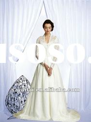 2012 arabic wedding dress long lace sleeve free shipping