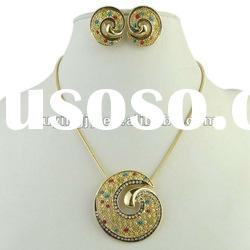 2012 new fashion indian bridal gold plated jewelry necklace set
