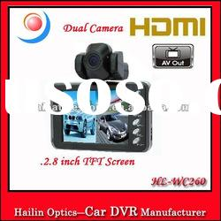2.8 inch TFT LCD with HDMI 270 Degree Rotatable Lens Dual Camera HD Cmos 360 degree Car dvr recorder