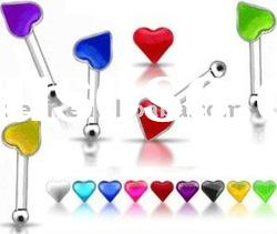 316L steel nose ring with colorful heart logo body piercing jewelry