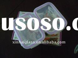 770ML/480ML COLORFUL rectangle glass food container with lid