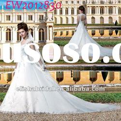 Ball Gown Sweetheart Cap sleeve Open Back satin organza Cathedral/ Royal Train Wedding Dresses