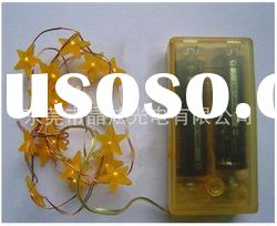 Battery Operated Led Christmas Decoration five-pointed star Copper String Lights