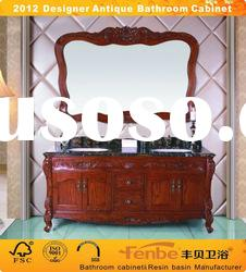 Classical&antique wood bathroom cabinet with natural marble top