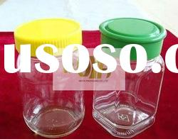 Clear Glass Honey Jar With Green And Yellow Plastic Cap