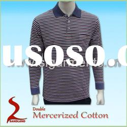 Double Mercerized Cotton Mens Polo shirt Long Sleeve