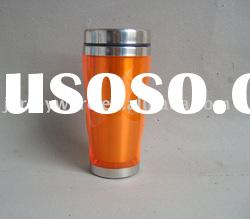 Double wall Travel mug with stainless steel inner and plastic outer