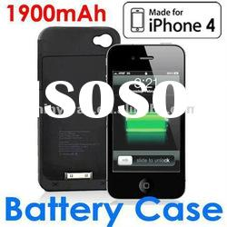 External backup battery case for iPhone 4(s) with 1900mAh capacity