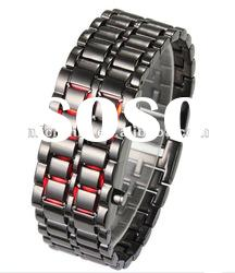Faceless Lava Style Iron Samurai Metal Black LED Watch