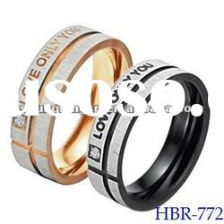 Fashion Couples Wedding Ring &Brush Finished Jewelry