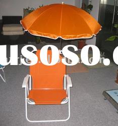 Folding low seat beach chair with umbrella