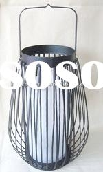 Hanging outdoor metal wire candle lantern