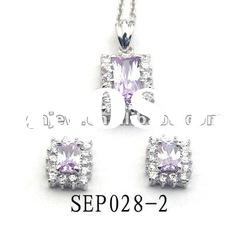 High Quality silver jewelry sets with Lavender CZ