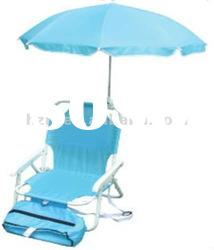 Kid beach chair with umbrella and cooler bag