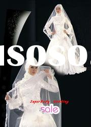 Latest MW011 long sleeve ball gown beading bridal muslim wedding dress