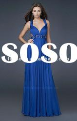 New arrival spaghetti strap open back chiffon evening gowns