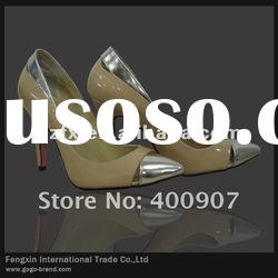 Nude leather offfice ladies shoes, high heel dress shoes