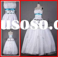 PYN2219 2012 White Princess In Stock Organza Strapless Ball Gown quinceanera dresses