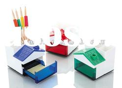Promotional plastic house shaped pen holder with memo pad & clip dispenser