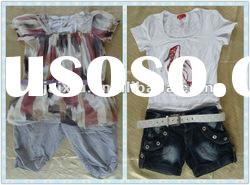 Second hand clothes fashion style ladies summer clothes t shirts and shorts