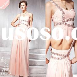 The newest one shoulder light pink sweetheart a-line long prom dress