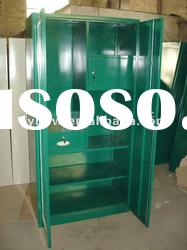 Two-door steel knock down clothes wardrobe with drawer